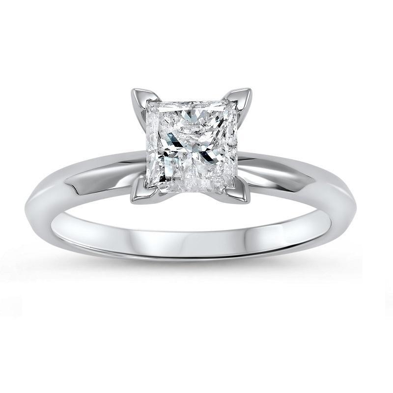 14K P/Cut Diamond Solitaire Ring 1/2 ct