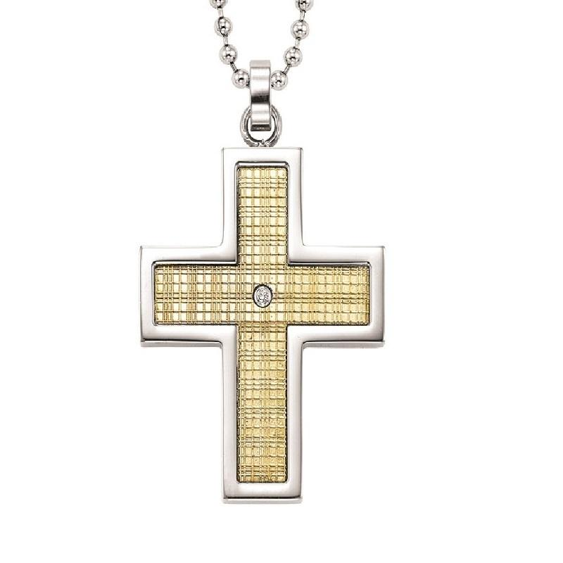 Steel and 18K Inlay Diamond Cross