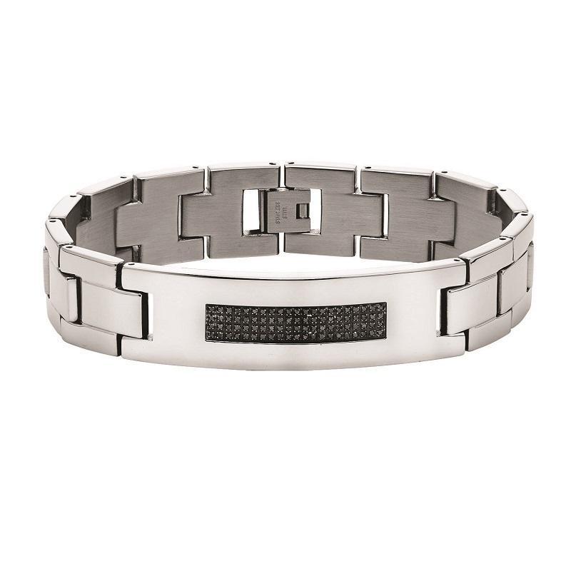 Steel Black Diamond Bracelet 3/8 ctw
