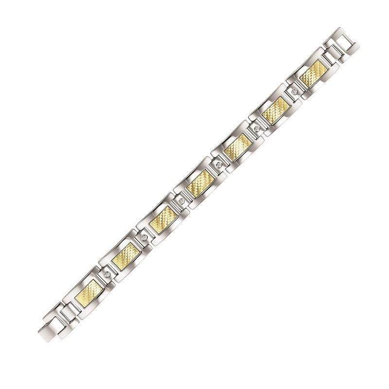 Steel and 18K Inlay Diamond Bracelet 1/5 ctw