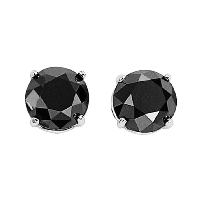 10KW Black Diamond Studs 1 1/2 ctw