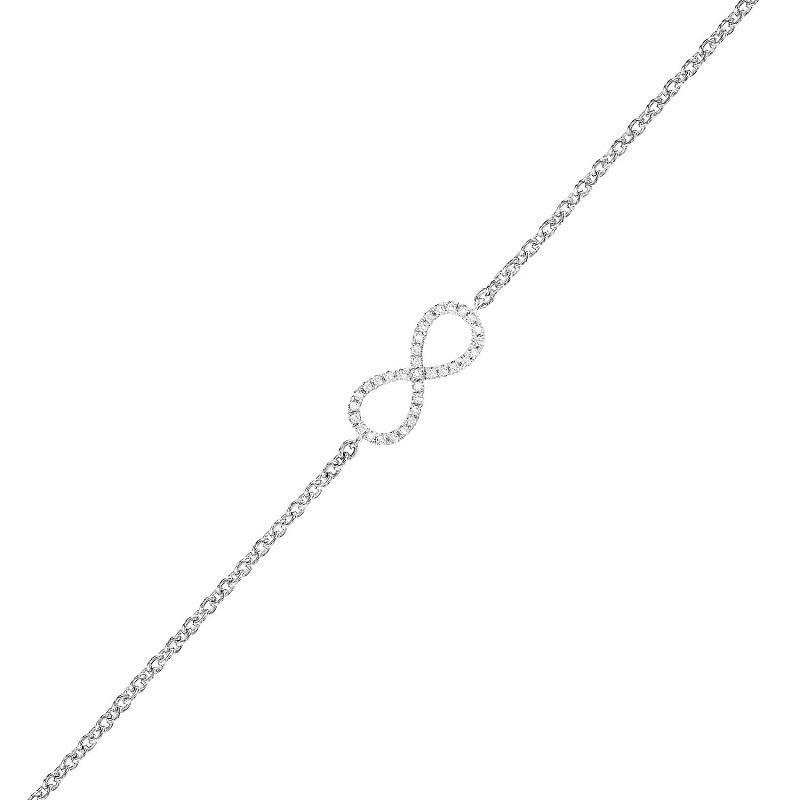 Silver Diamond Infinity Bracelet 1/10 ctw
