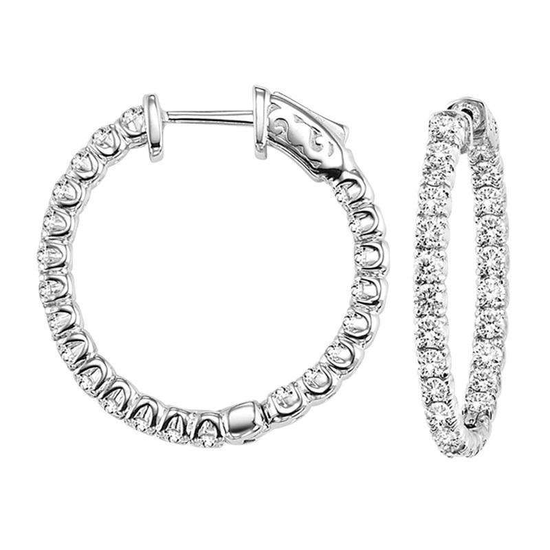 14K Diamond Inside Out Earrings Round 1 ctw