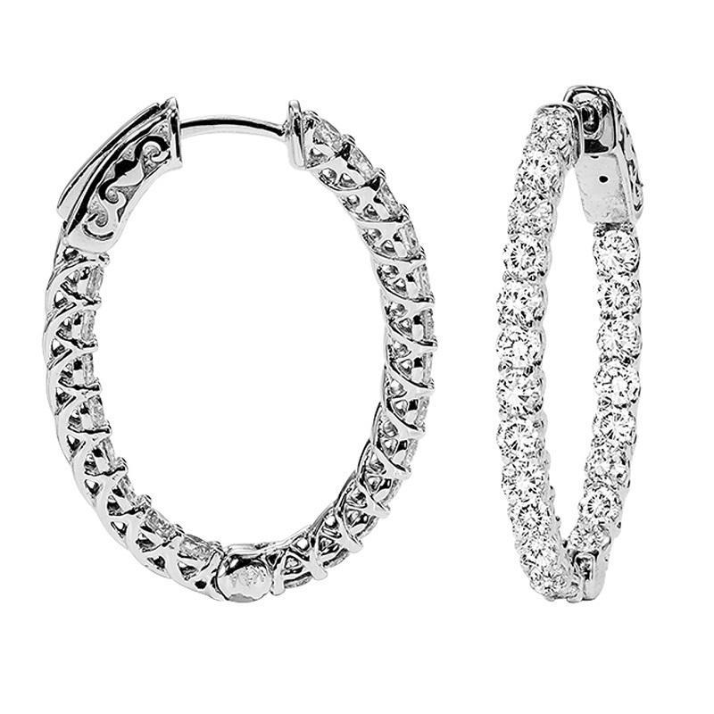 14K Diamond Inside Out Earrings Oval 1 1/2 ctw