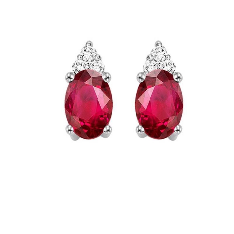 10K Ruby & Diamond Earrings