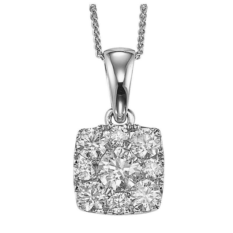 14K Diamond Pendant 1 ctw Cushion Shape