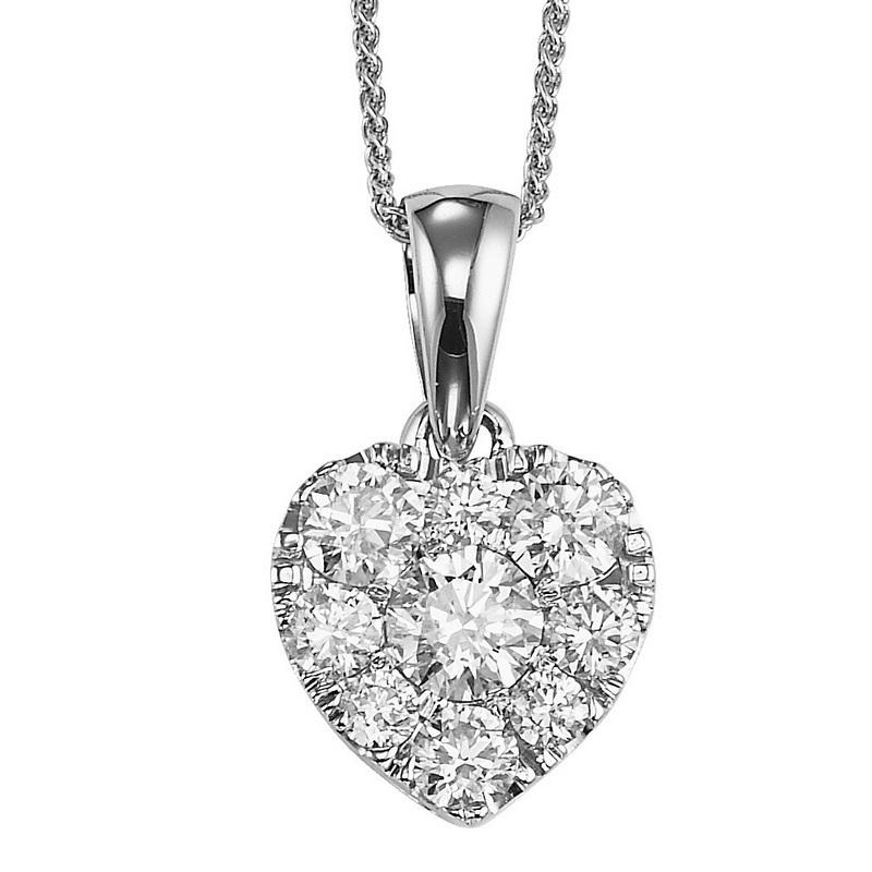 14K Diamond Pendant 1/2 ctw Heart Shape