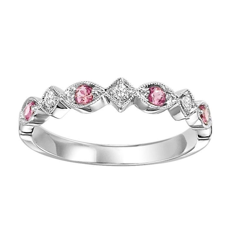 14K Pink Tourmaline & Diamond Mixable Ring