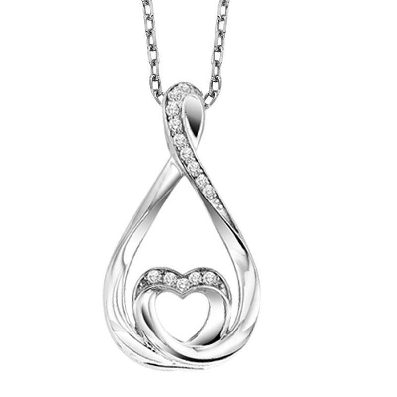 Silver Diamond Everlasting Love Pendant