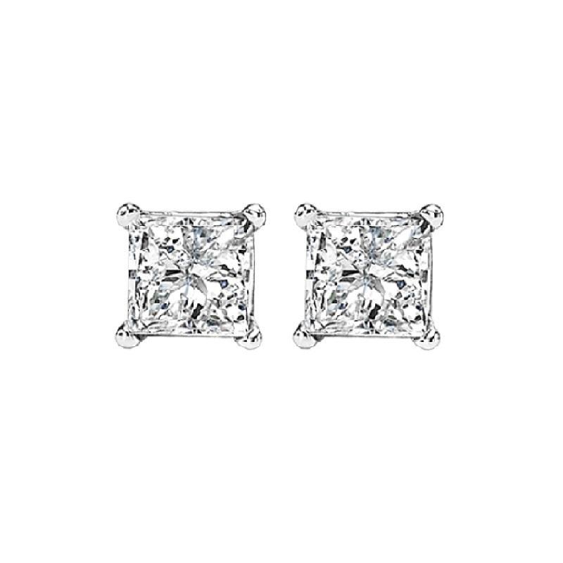 14K P/Cut Diamond Studs 1/2 ctw P3