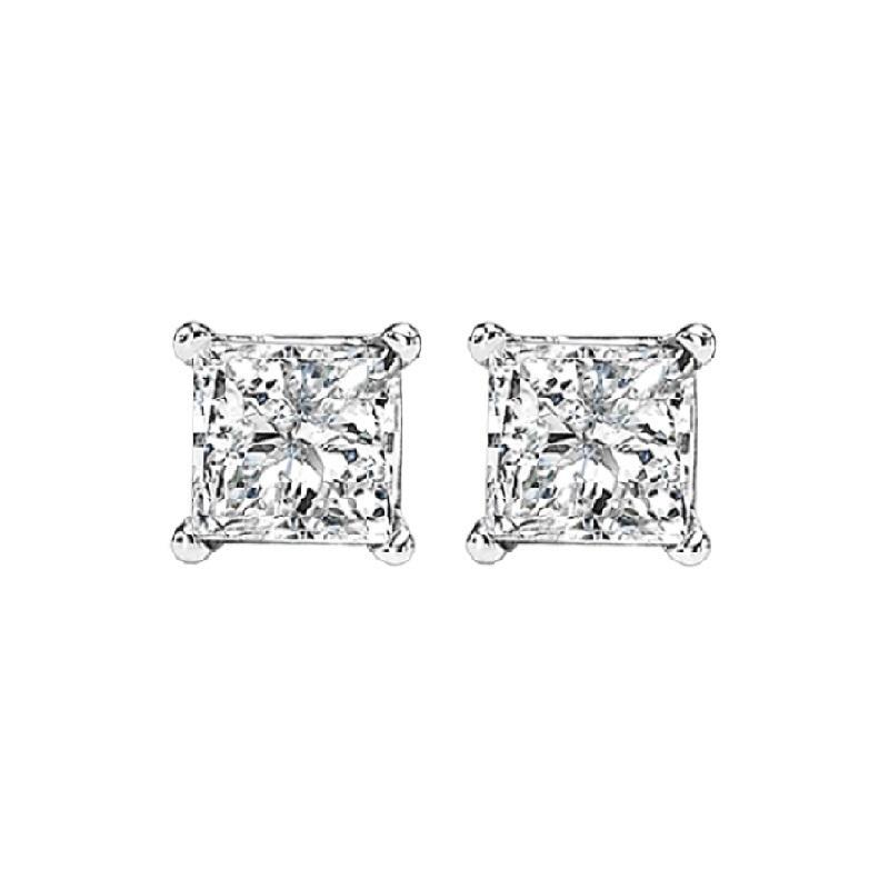 14K P/Cut Diamond Studs 5/8 ctw P3