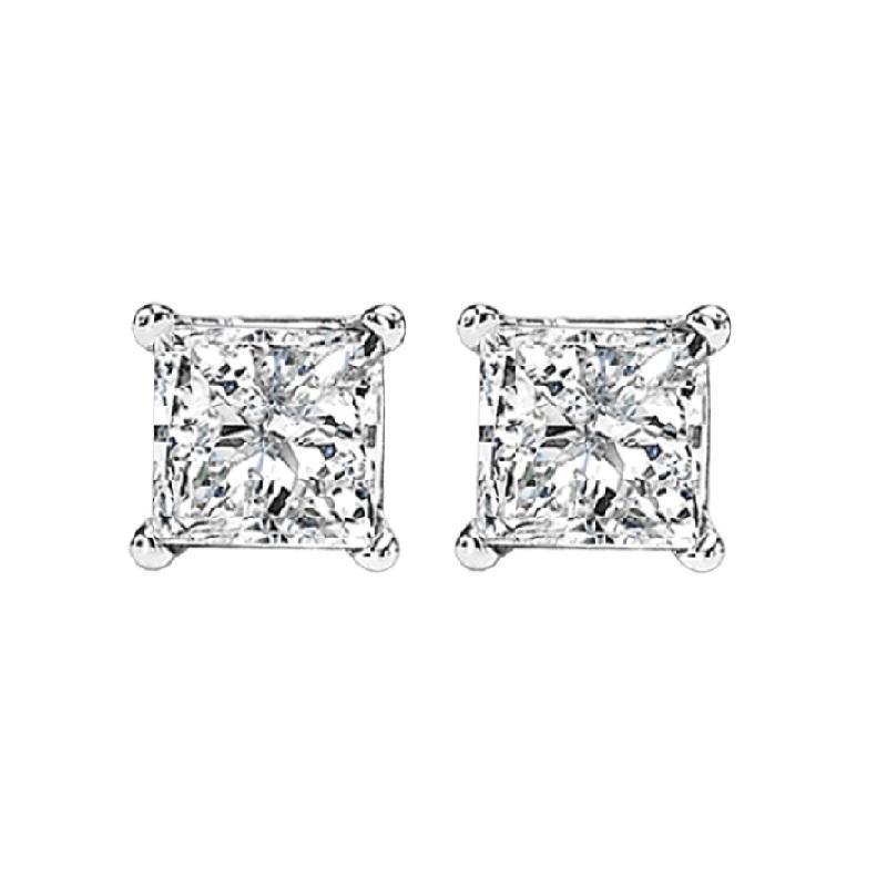14K P/Cut Diamond Studs 1 ctw P3