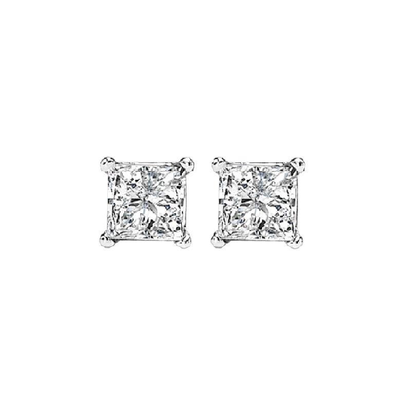 14K P/Cut Diamond Studs 1/3 ctw P1
