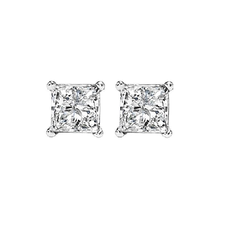 14K P/Cut Diamond Studs 3/8 ctw P1