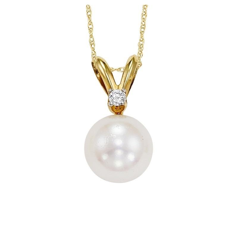 Cultured Pearl & Diamond Pendant 6.5 mm