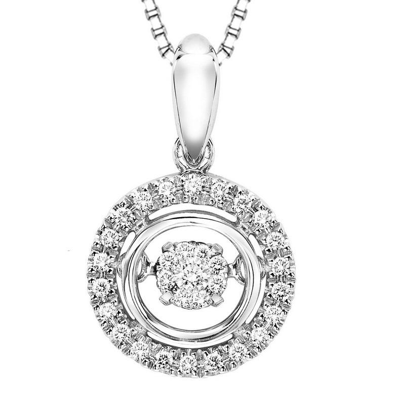 Silver Diamond Rhythm Of Love Pendant 1/10 ctw