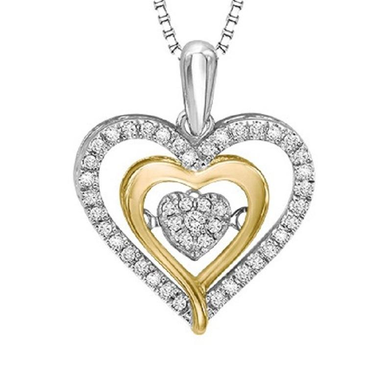 Silver & 10KY Gold Diamond Rhythm Of Love Pendant 1/5 ctw