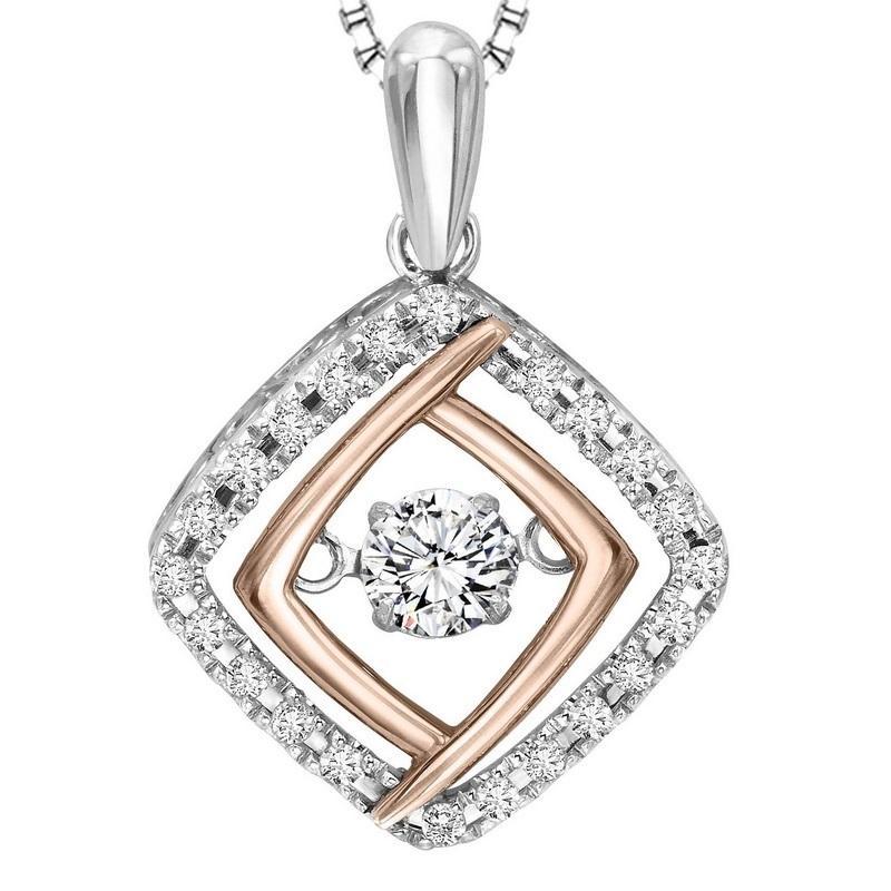 Silver & 10K Rose Gold Diamond Rhythm Of Love Pendant 1/3 ctw