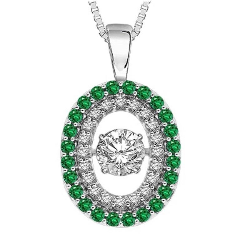 14K Emerald & Diamond Rhythm Of Love Pendant