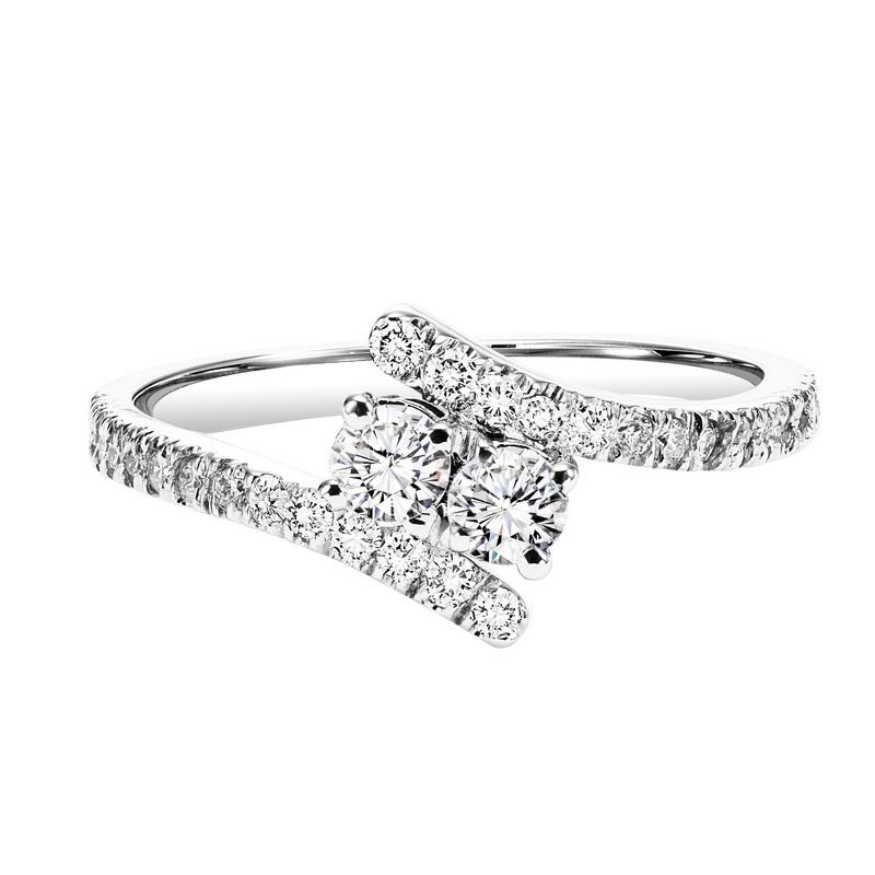 Silver with Diamond Two Stone Ring 1/4 ctw