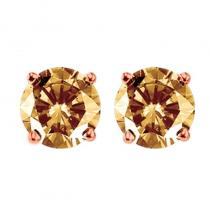 10K Brown Diamond Studs 1 ctw