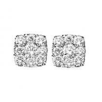 14K Diamond Earrings 1 ctw Cushion Shape