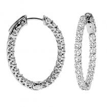 14K Diamond Inside Out Earrings Oval 2 ctw