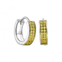 Silver Yellow Diamond Earrings 1/7 ctw
