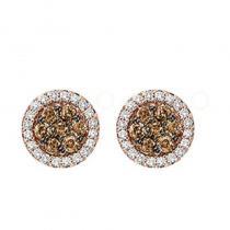 14K Brown & White Diamond Earrings 1/2 ctw
