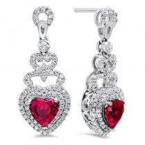 Silver Created Ruby Earrings