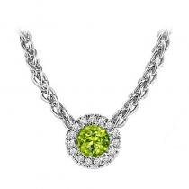 14K Peridot & Diamond Pendant