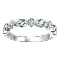 14K Blue Topaz & Diamond Mixable Ring