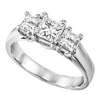 14K P/Cut Diamond 3 Stone Ring 1 ctw