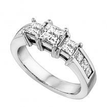 14K P/Cut Diamond 3 Stone Plus Ring 2 ctw
