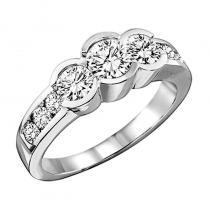 14K Diamond 3 Stone Plus Bezel Set Ring 1 Ctw