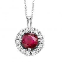 14K Ruby & Diamond Pendant