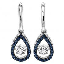 14K Blue & White Diamond Rhythm Of Love Earrings 3/4 ctw