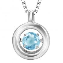 Silver Blue Topaz Rhythm Of Love Pendant
