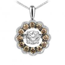 14K Brown & White Diamond Rhythm Of Love Pendant 3/8 ctw