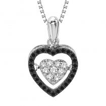 Silver Black Diamond Rhythm Of Love Pendant