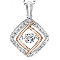Silver & 10K Rose Gold Diamond Rhythm Of Love Pendant 1/3 ctw