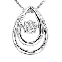 Silver Diamond Rhythm Of Love Pendant 1/20 ctw