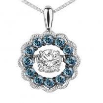 14K Blue & White Diamond Rhythm Of Love Pendant 3/8 ctw