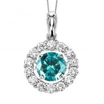 14K Diamond Rhythm Of Love Pendant 2 1/2 ctw (2 ct ctr blue dia)