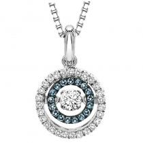 Silver Blue & White Diamond Rhythm of Love Pendant