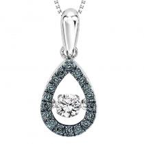 Silver Diamond Rhythm Of Love Blue Dia Pendant