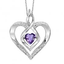 Silver Diamond & Created Amethyst Pendant