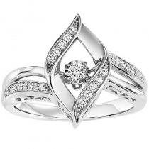Silver Diamond Rhythm Of Love Ring 1/7 ctw