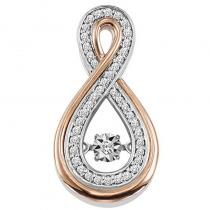 10K Rose & White Gold Diamond ROL Pendant 1/7 ctw