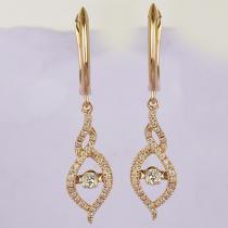 14KP Diamond Rhythm Of Love Earrings 3/8 ctw